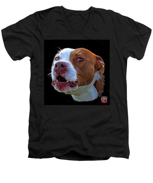 Pitbull 7769 - Bb - Fractal Dog Art Men's V-Neck T-Shirt