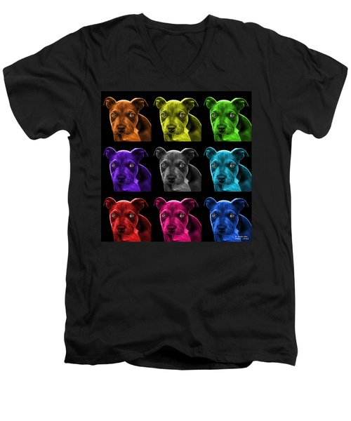Pitbull Puppy Pop Art - 7085 Bb - M Men's V-Neck T-Shirt by James Ahn