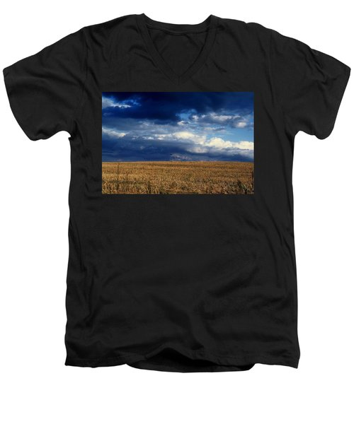 Men's V-Neck T-Shirt featuring the photograph Plain Sky by Rodney Lee Williams