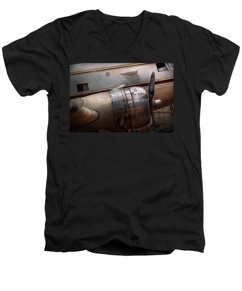 Men's V-Neck T-Shirt featuring the photograph Plane - A Little Rough Around The Edges by Mike Savad