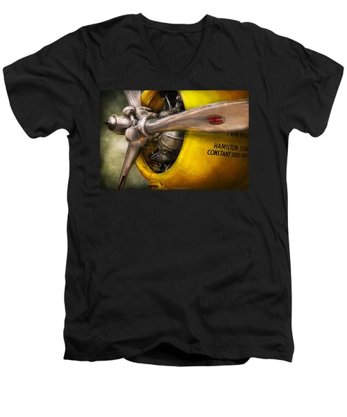 Plane - Pilot - Prop - Twin Wasp Men's V-Neck T-Shirt