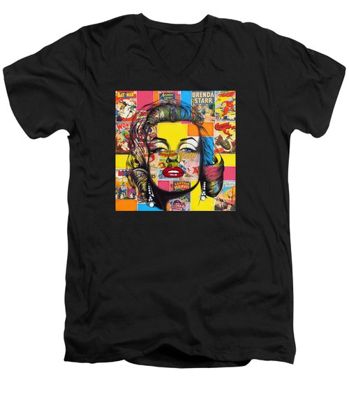 Men's V-Neck T-Shirt featuring the mixed media Planet Marilyn by Joseph Sonday