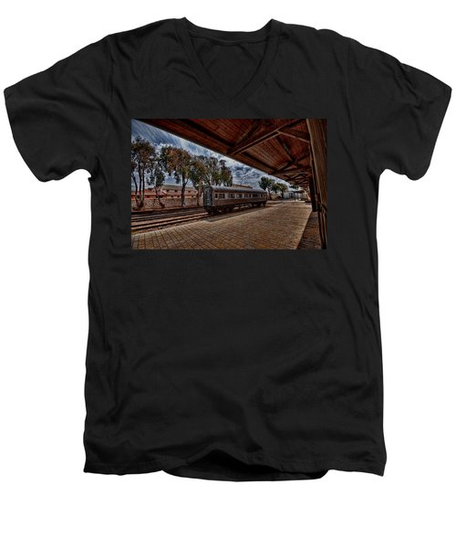 Men's V-Neck T-Shirt featuring the photograph platform view of the first railway station of Tel Aviv by Ron Shoshani