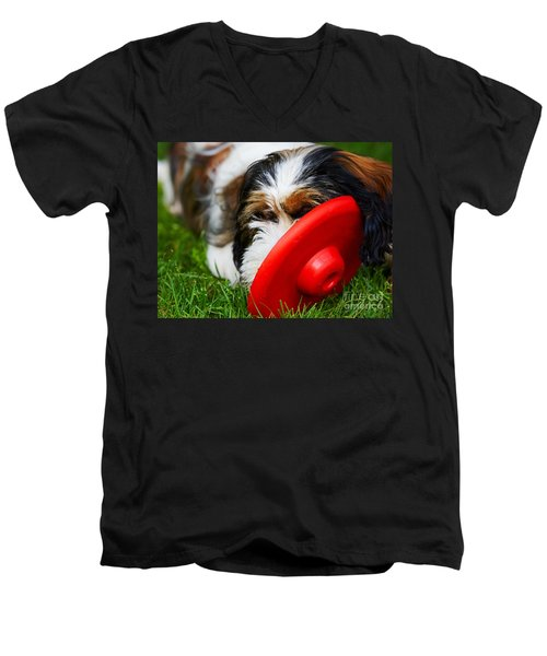 Playing Dog Men's V-Neck T-Shirt