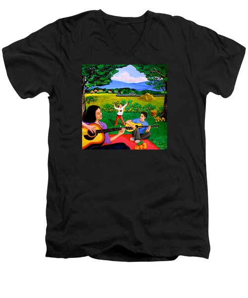 Playing Melodies Under The Shade Of Trees Men's V-Neck T-Shirt