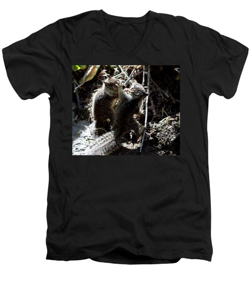 Men's V-Neck T-Shirt featuring the photograph Playing U.f.c. by Brian Williamson