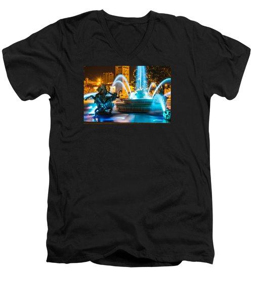 Plaza Blue Fountain Men's V-Neck T-Shirt by Steven Bateson