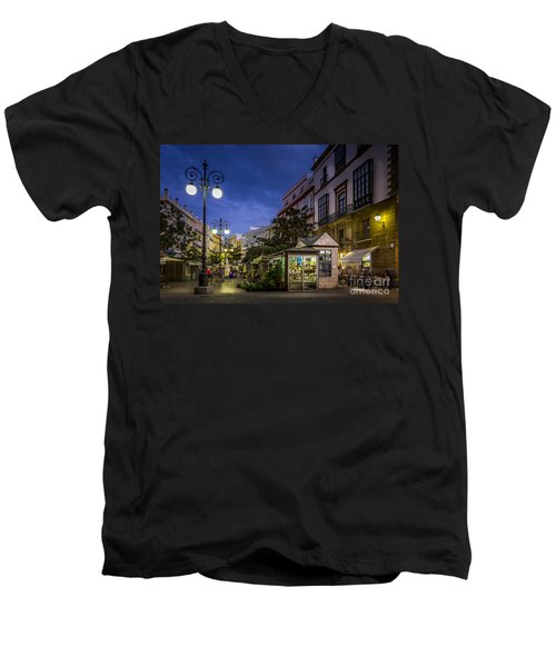 Plaza De Las Flores Cadiz Spain Men's V-Neck T-Shirt