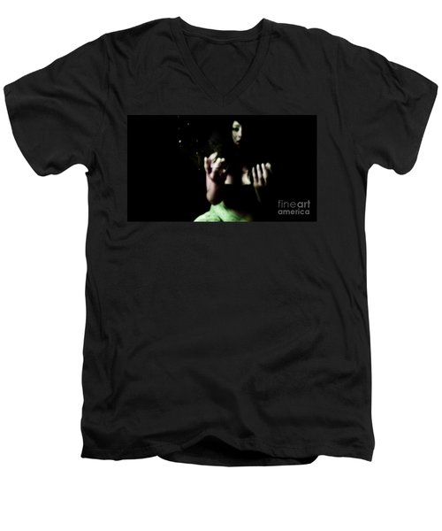 Men's V-Neck T-Shirt featuring the photograph Pleading by Jessica Shelton