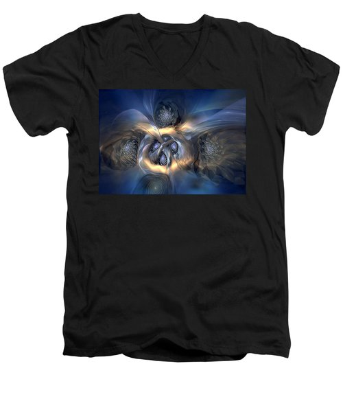 Men's V-Neck T-Shirt featuring the digital art Pleasant Effusion by Casey Kotas