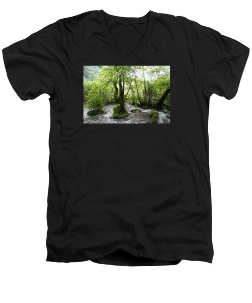 Men's V-Neck T-Shirt featuring the photograph Plitvice Lakes by Travel Pics