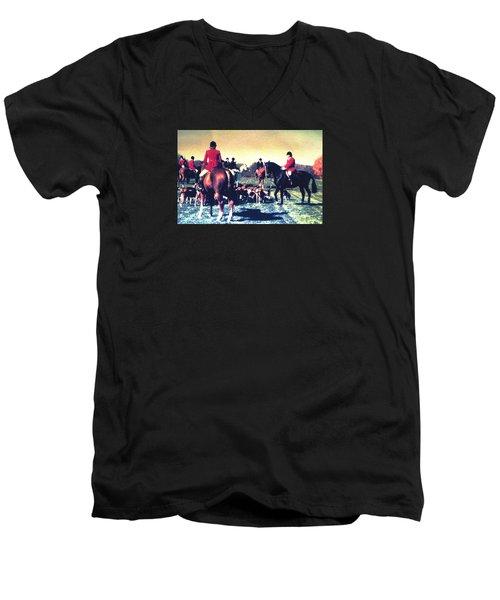 Plum Run Hunt Opening Day Men's V-Neck T-Shirt by Angela Davies