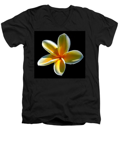 Plumeria Against Black Men's V-Neck T-Shirt