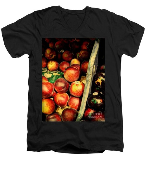 Plums And Nectarines Men's V-Neck T-Shirt by Miriam Danar