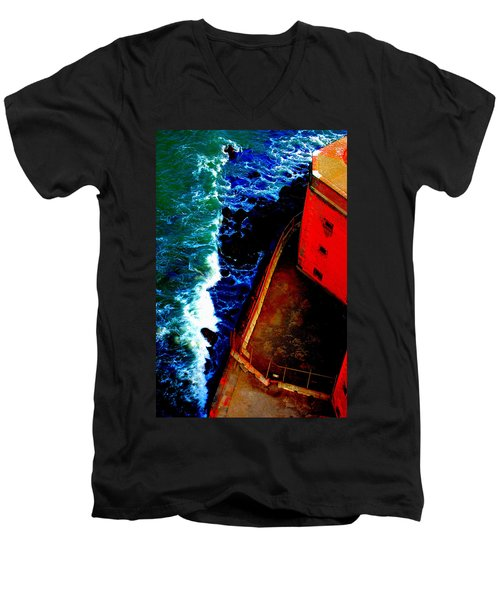 Plunging From Golden Gate Men's V-Neck T-Shirt by Holly Blunkall