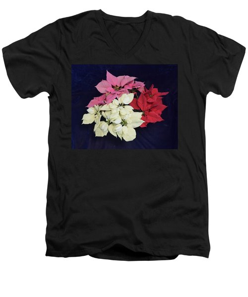 Poinsettia Tricolor Men's V-Neck T-Shirt