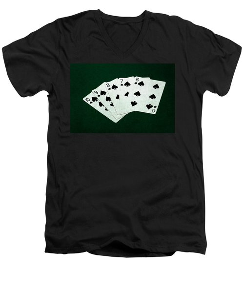 Poker Hands - Straight Flush 1 Men's V-Neck T-Shirt