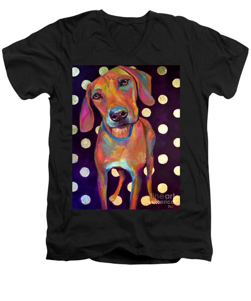 Men's V-Neck T-Shirt featuring the painting Polka Pooch by Robert Phelps