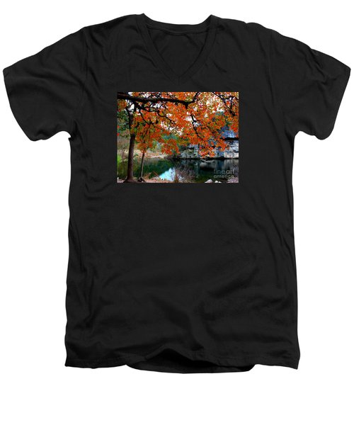 Fall At Lost Maples State Natural Area Men's V-Neck T-Shirt