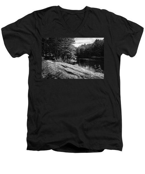 Men's V-Neck T-Shirt featuring the photograph Pondside by Mark Myhaver