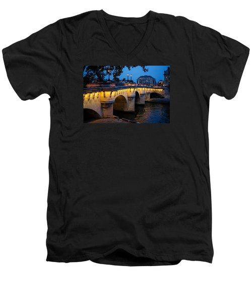 Pont Neuf Bridge - Paris France I Men's V-Neck T-Shirt by Georgia Mizuleva