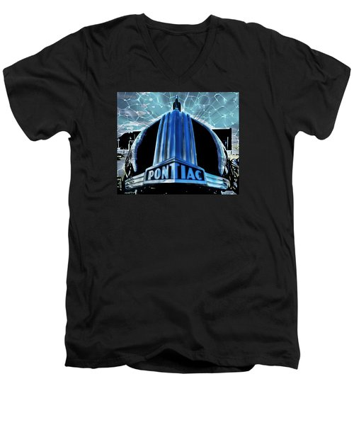 Men's V-Neck T-Shirt featuring the photograph Pontiac Chrome by Victor Montgomery