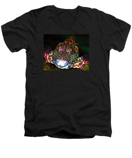 Poopaa Hawaiian Hawk Fish Men's V-Neck T-Shirt by Lehua Pekelo-Stearns