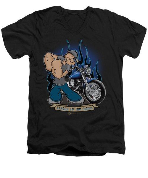 Popeye - Biker Popeye Men's V-Neck T-Shirt by Brand A
