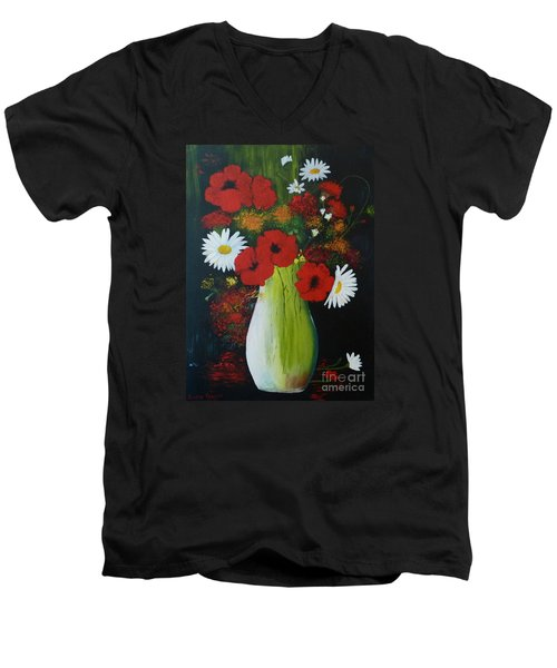 Poppies And Daisies Men's V-Neck T-Shirt