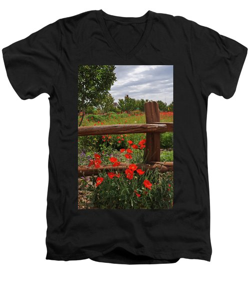 Poppies At The Farm Men's V-Neck T-Shirt