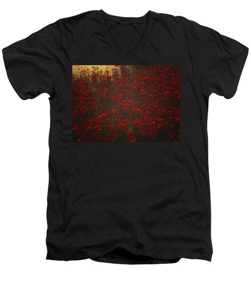 Poppies In The Rain Men's V-Neck T-Shirt