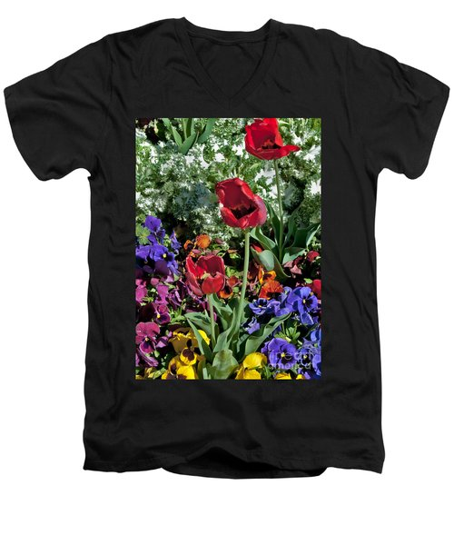Men's V-Neck T-Shirt featuring the photograph Poppies by Mae Wertz