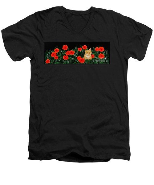 Poppy Cat Men's V-Neck T-Shirt