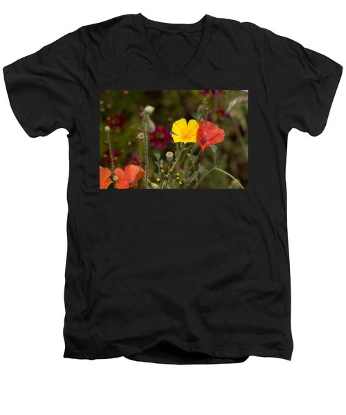 Men's V-Neck T-Shirt featuring the photograph Poppy Love by Mark Greenberg