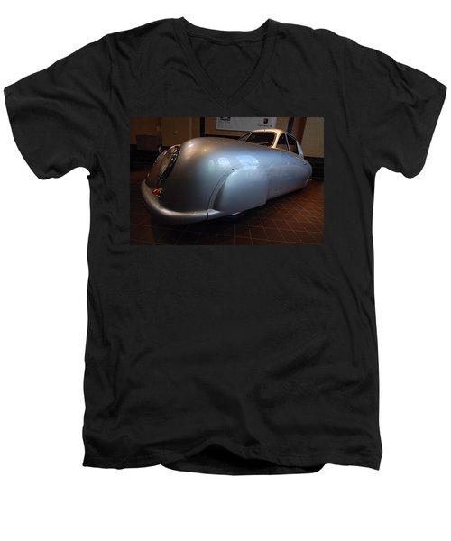 Men's V-Neck T-Shirt featuring the photograph Porsche 1949 356 S L Gmund Coupe by John Schneider