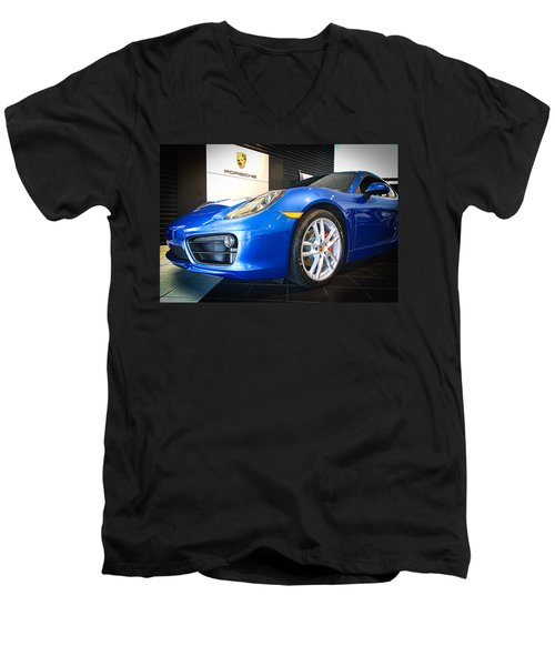 Porsche Cayman S In Sapphire Blue Men's V-Neck T-Shirt