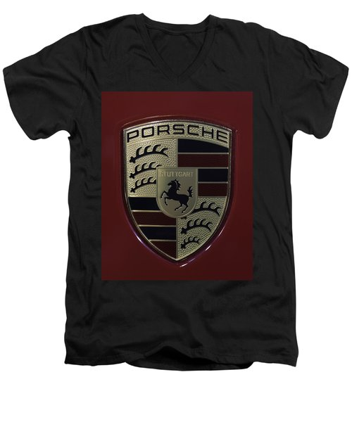 Porsche Emblem Men's V-Neck T-Shirt by Sebastian Musial