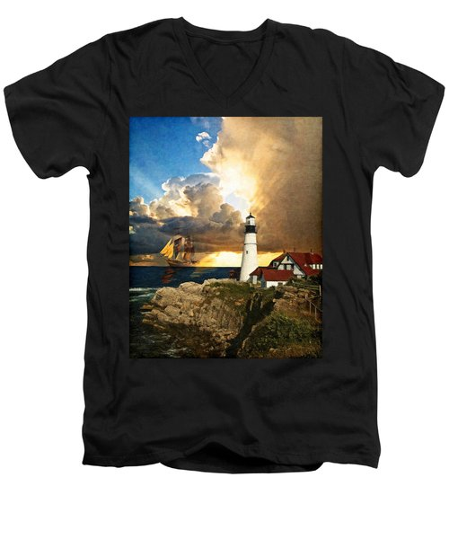 Portland Head Lighthouse Men's V-Neck T-Shirt by Lianne Schneider