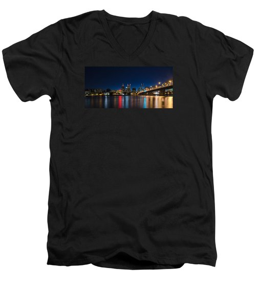 Portland Oregon Nightscape Men's V-Neck T-Shirt