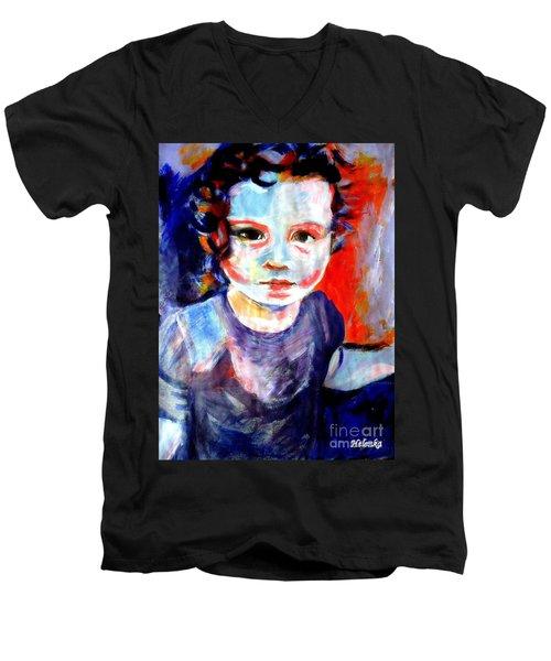 Portrait Of A Little Girl Men's V-Neck T-Shirt