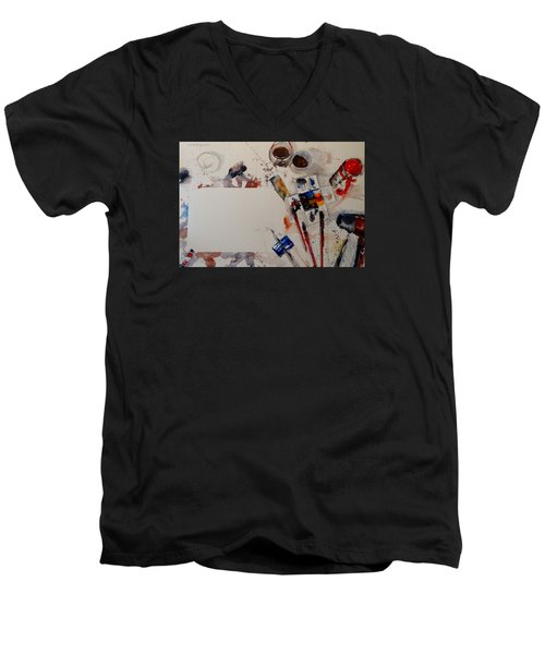 Men's V-Neck T-Shirt featuring the painting Portrait Of A Master by Sandra Strohschein