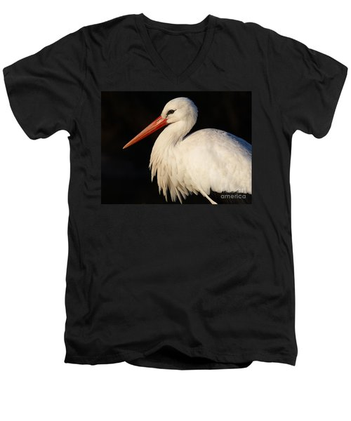 Portrait Of A Stork With A Dark Background Men's V-Neck T-Shirt