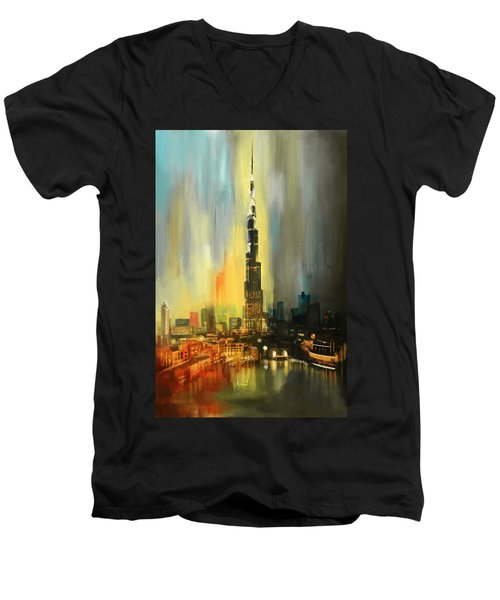 Portrait Of Burj Khalifa Men's V-Neck T-Shirt