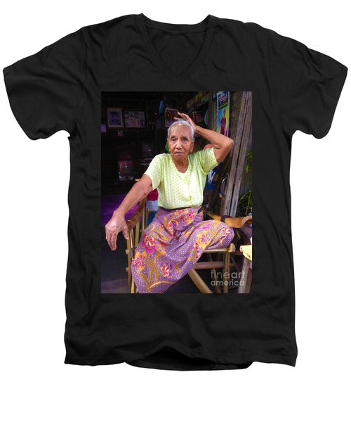 Men's V-Neck T-Shirt featuring the photograph Portrait Of Elderly Burmese Lady Sitting In Front Of Home 33rd Street Chanayethazan Mandalay Burma by Ralph A  Ledergerber-Photography