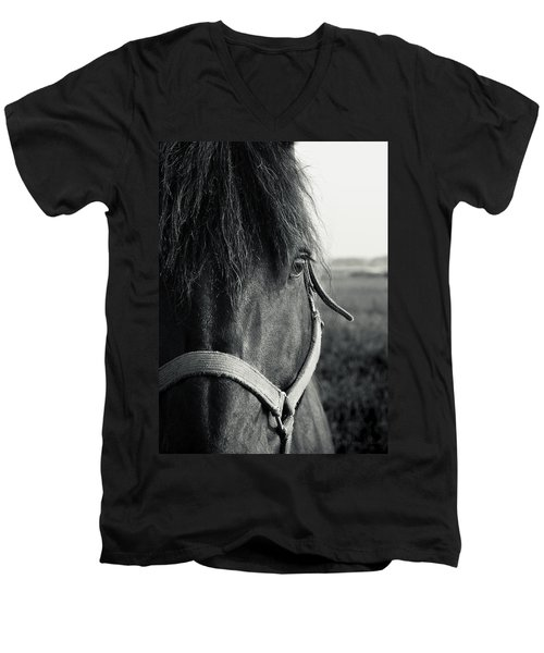 Portrait Of Horse In Black And White Men's V-Neck T-Shirt
