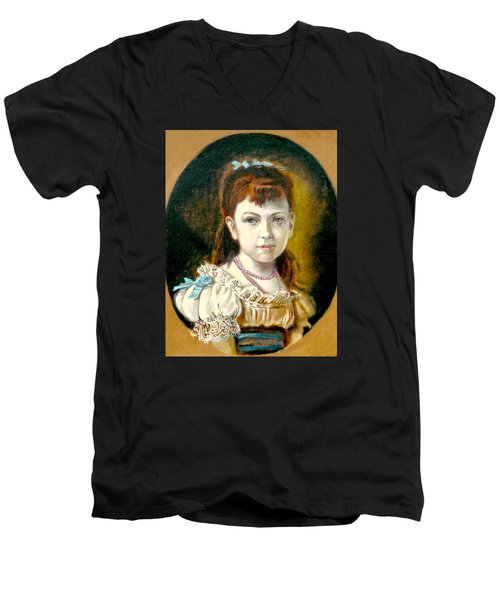 Men's V-Neck T-Shirt featuring the painting Portrait Of Little Girl by Henryk Gorecki