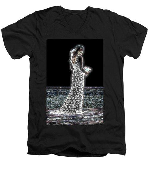 Posing Shyly Men's V-Neck T-Shirt by Leticia Latocki
