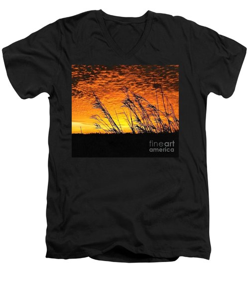 Men's V-Neck T-Shirt featuring the photograph Post Hurricane Rita At Dockside In Beaumont Texas Usa by Michael Hoard