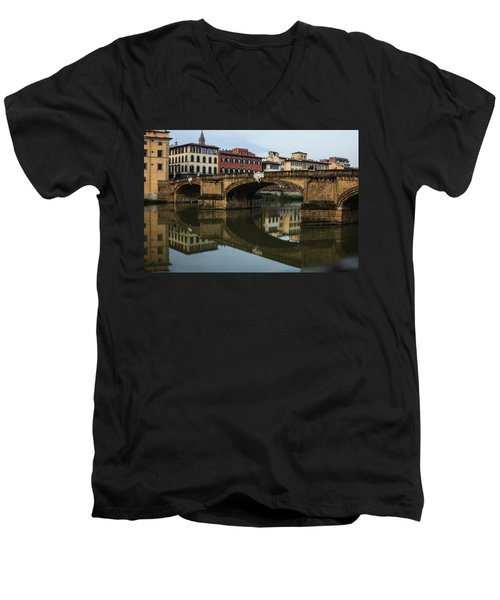 Men's V-Neck T-Shirt featuring the photograph Postcard From Florence  by Georgia Mizuleva