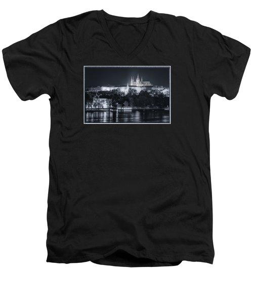 Prague Castle At Night Men's V-Neck T-Shirt by Joan Carroll